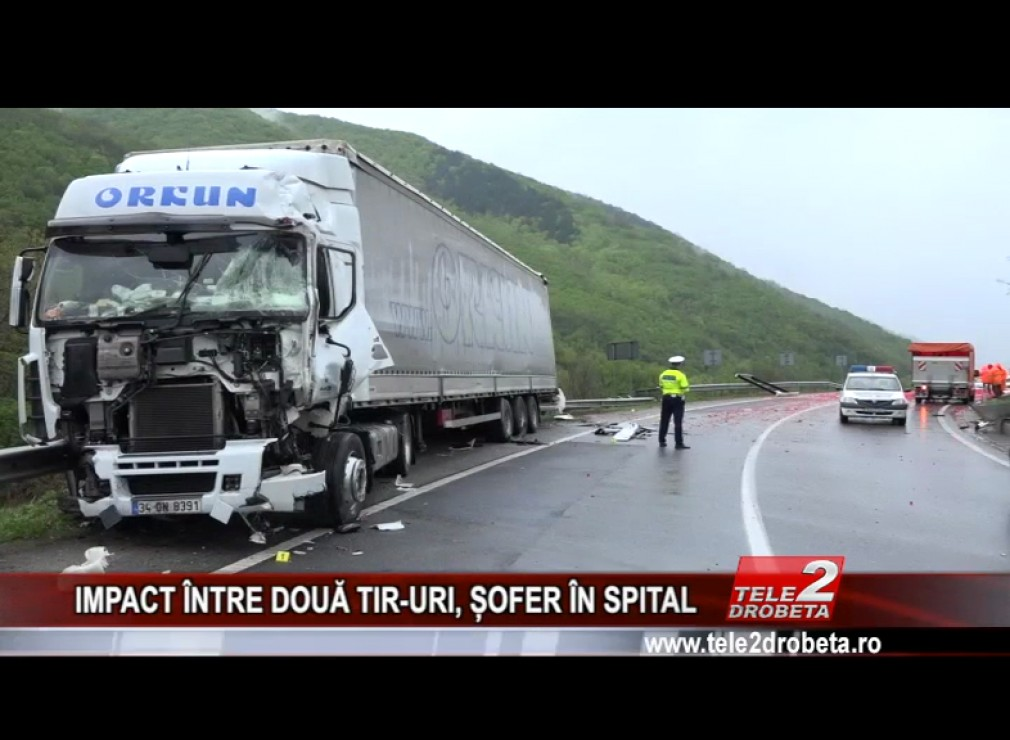 VIDEO. Impact violent între două TIR-uri